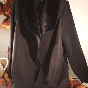 Black cloth suede front jacket size small